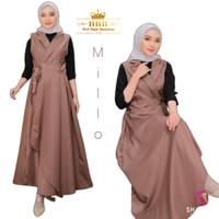 Baju Setelan Overall Belle Set 2in1 Free Inner Gamis Muslim Dress Set - Milo, L