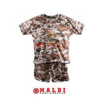 Setelan Anak Loreng Army Baju Celana Pendek Loreng Gurun - M