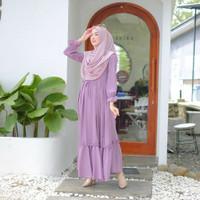Azura Dress Gamis Maxy Lilac Polos Outfit Muslim Termurah Dress Eid