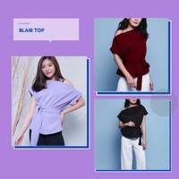 Blair Top Blouse Atasan Wanita Short Sleeve Off Shoulder Knit ALLSIZE - Hitam
