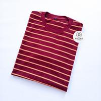 Kaos Stripe Polos Pria Garis Medium Merah Maroon Kuning Premium - L