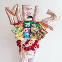 Snack Bloombox Premium With Balon / Hadiah Snack dan Bunga Box / Ultah