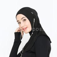 Nawra Pro Sport Hijab Instan Jilbab Olahraga Earphone - Yucca Modest - S, Hitam