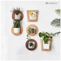 Rak bunga tempel dinding kayu minimalis bentuk L bulat dan kotak