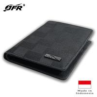 JFR Fashion Dompet Pria 3/4 Berdiri Bahan Kulit Canvas JP25 Hitam