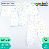 Setelan Baju Bayi Panjang Shankusen animal gajah 3 pasang