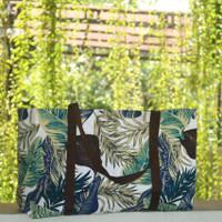 Tas Belanja Kanvas Besar / Tote Bag Kanvas Motif Aqua Blue