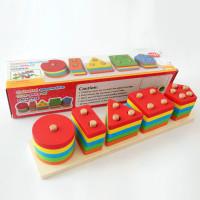 Mainan Kayu Edukatif Anak Susun 5 model Balok Block Geometri ME009