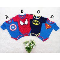 Baju Jumper Bayi Laki Lucu Superhero Superman Batman Spiderman Captain