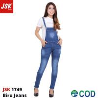 Baju Kodok Jeans Overall Wanita Celana Jumpsuit Jeans Panjang JSK 1749 - Biru Jeans, 27