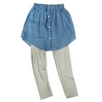 Rok Mini Jeans Polos Polka Dot Legging Set Anak Remaja Korea Import