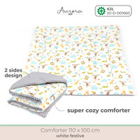 Aurora Baby - Selimut Bayi / Selimut Bed Cover - White Festive
