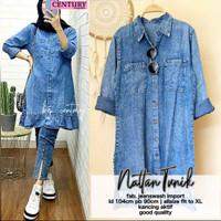 baju atasan wanita kemeja jeans modern kekinian trendy-nattan