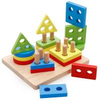 Mainan Kayu Edukatif Anak Susun 4 model Balok Block Geometri ME029
