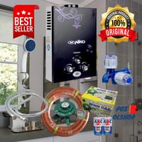 WATER HEATER / PEMANAS AIR KAMAR MANDI GAS LENGKAP NIKO HITAM LED