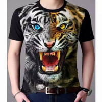 BAJU kaos 3D macan kombinasi spandek / kos harimau satwa
