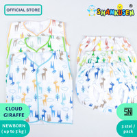 NEW Setelan Baju Bayi Buntung Shankusen Cloud Giraffe 3 stel