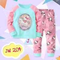 JW 204 KIDS- J Cute Hello Kitty Pajamas Printing+Lace Aplique 5 Tahun