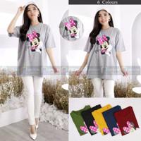 Baju Atasan Jumbo Kaos Oversize Wanita Motif Kartun Minnie Mouse Lucu