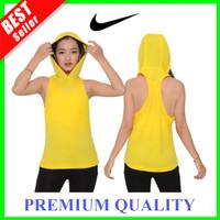 TankTop Sport Wanita Tank Top Hoodie Kaos Olah Raga Lari Gym Yoga Sexy - Kuning, L