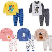 [0-3TH] Setelan Baju Tidur Anak Bayi Bahan Katun Piyama Lengan Panjang