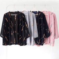 PROMO Baju Kardigan Maika Kimono Lengan Panjang Wanita Jepang Murah