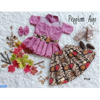 Setelan Brokat Rok Batik Anak Perempuan/ Baju Pesta anak-pepplum ayu