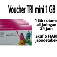 VOUCHER PAKET DATA TRI MINI ( THREE MINI1 MINI2 MINI 1 2 1GB 5 HARI 1 - 1,5 GB