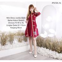 Baju Batik Bunga Mini Dress Wanita Modern Floral AllSize Fit M L XL - JP025DL-Fit XL