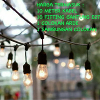 Kabel Fitting Lampu Cafe Gantung Outdoor E27 10 M Meter 10 Fitting