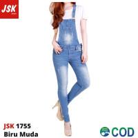 Baju Kodok Jeans Overall Celana Jumpsuit Jeans Skinny Wanita JSK 1755 - Biru Muda, 27