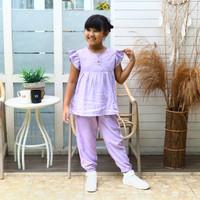 Setelan Baju Santai Harian Rayon Polos Premium Anak Perempuan 4-10 th - Ungu, 6-7 tahun