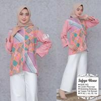 blouse wanita lengan panjang jumbo batik kombinasi batik kantor