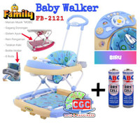 Family Baby Walker Car Stir 2121 Ayun Music REM Harga Promo BIRU Blue
