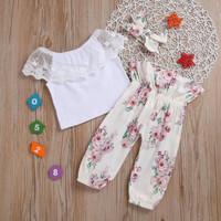 Baju setelan bayi baju setelan anak sabrina lengan flare motif bunga s