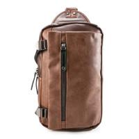Urban State - PU Buckled Zipper Slingbag - Dark Brown Camel