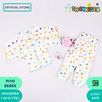 Setelan Baju Panjang Bayi Shankusen motif piyo bebek 3 pasang