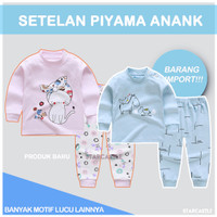 Import Set Piyama Bayi Lengan Panjang Anak Lucu Unisex Baju Tidur