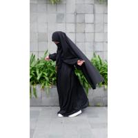 Abaya Dubai Set Mewah/Abaya Dubai bermotif Original 100 % - Hitam, S