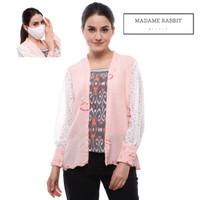Baju Atasan Batik Kantor Madame Rabbit Pink Muda Lengan Panjang Masker - S