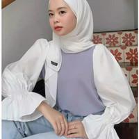 Baju wanita korea Alma blouse bahan moscrape terbaru dan terlaris