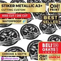 Cetak Stiker / Print Sticker Label Metallic Silver Gold A3+ & KISS CUT