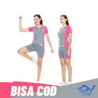 Setelan olahraga wanita baju senam lengan pendek dan celana senam - Merah Muda, XL