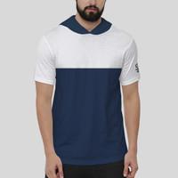 Baju Cowo / Kaos Hoodie Pendek Pria / T-Shirt Distro - H2-2121001 - Putih-Navy, L