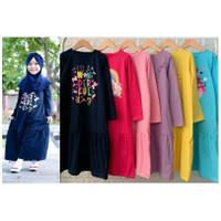 Gamis Anak Kaos Sablon Smilee size 2-8th - Baju Muslim Anak Perempuan