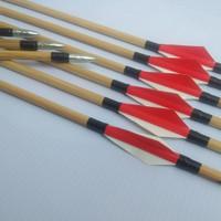 paket 6pcs anak panah arrow bambu 7mm point aloy