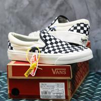 Sepatu Vans Slip On Import Quality Termurah - Putih Catur, 37