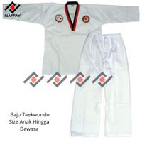 Baju Dobok Taekwondo Naffay Kerah Merah Hitam Dewasa Remaja Anak Ori - Krah Mrah Hitam, 2