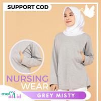 MOMIASI Kaos Menyusui Baju Busui Nursing Wear Lengan Panjang Grey