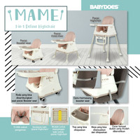BabyDoes CH-SN 01505 C Mame 3 in 1 Deluxe High Chair + Wheels